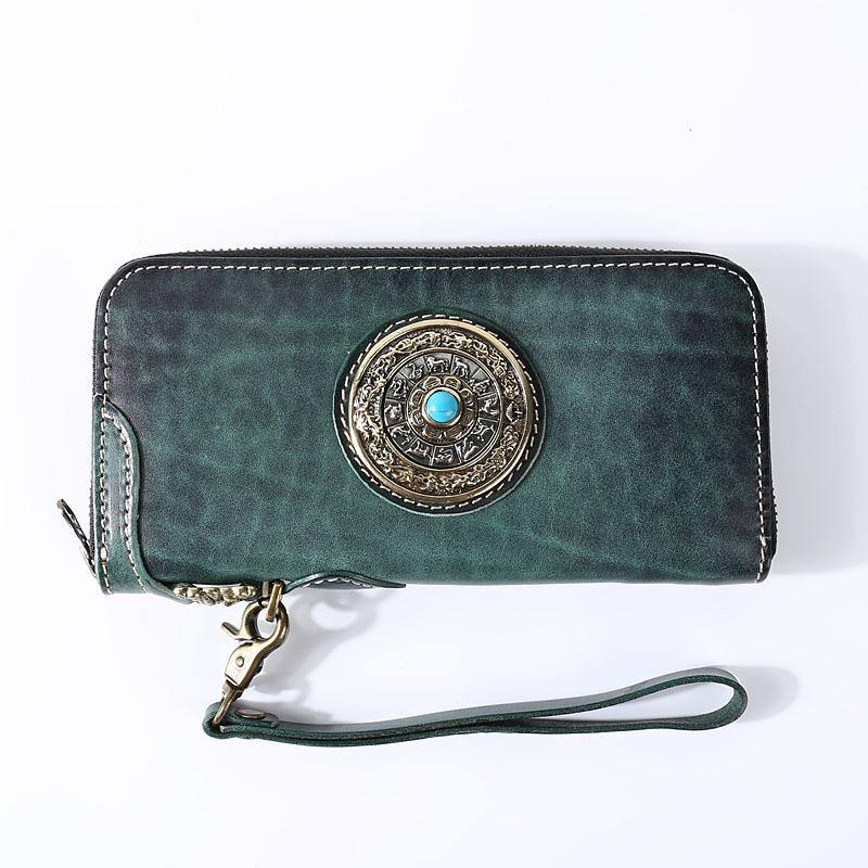 green and yellow cow leather WalletClutch