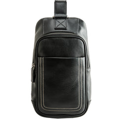 Black Leather Mens Large Sling Bag Chest Bag Sling Pack Black One Shoulder Backpack for Men