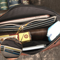 COOL MEN LEATHER ZIPPER LONG CLUTCH WALLETS ZIPPER VINTAGE Brown Envelope Bag FOR MEN