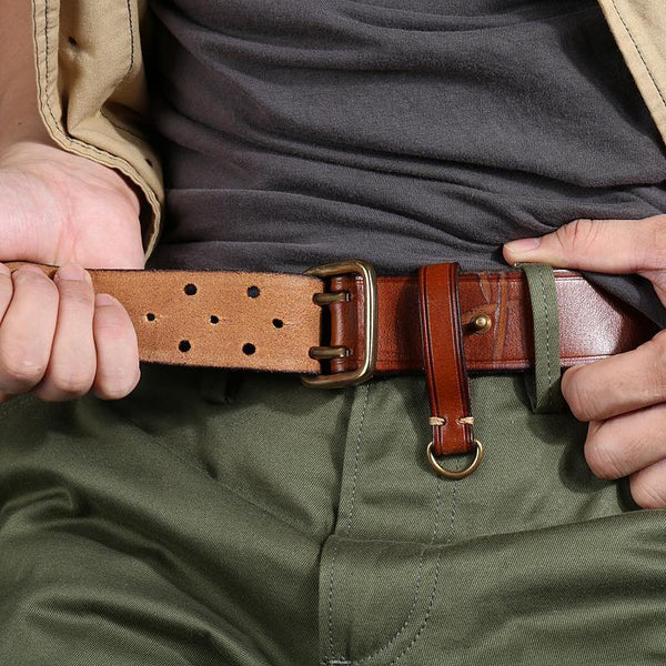 Handmade Leather Mens Casual Black Belt Double Holes Belt Brown Belt For Men