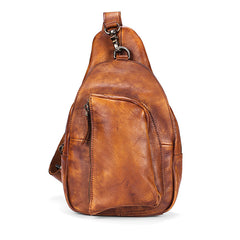 Cool Brown MENS LEATHER Sling Bag Chest Bag Coffee One Shoulder Backpack For Men