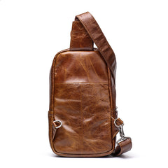 Cool Black Leather Men's Sling Bag Chest Bag Sling Crossbody Bag Brown One Shoulder Backpack For Men