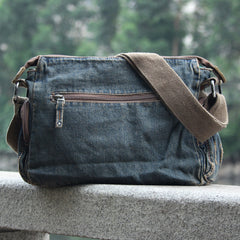 Vintage Denim Blue Mens Casual Side Bag Messenger Bag Jean Blue Postman Bags Courier Bag For Men