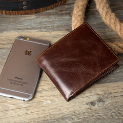 Brown Cool Leather Mens Thin Small Wallet Front Pocket Wallet Trifold billfold Wallets for Men