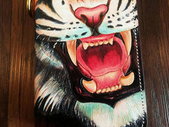 Handmade Leather Mens Clutch Wallet Cool Tiger Tooled Chain Wallet Biker Wallets for Men