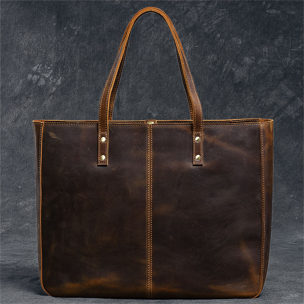 "Leather Mens Womens 14"" Large Tote Shoulder Bag Vintage Brown Tote Bag Large Side Bag For Men"