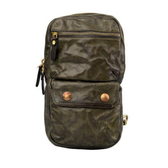 Fashion Black Leather Men Sling Bag Chest Bag Army Green Leather Sling Pack One Shoulder Backpack For Men