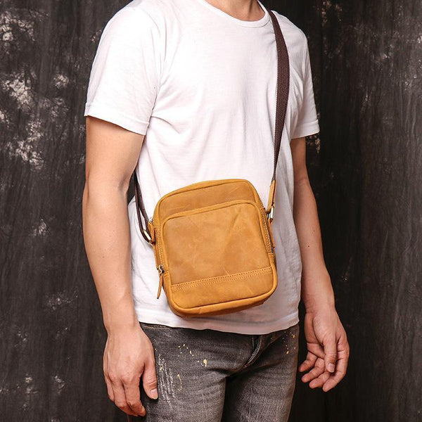 Tan LEATHER MENS Small Vertical SIDE BAG COURIER BAG Vertical MESSENGER BAG FOR MEN