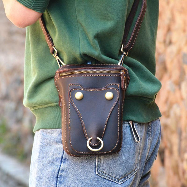 Black LEATHER MENS Belt Pouch Ox Mini Messenger Bag Belt Holster Waist Bag For Men