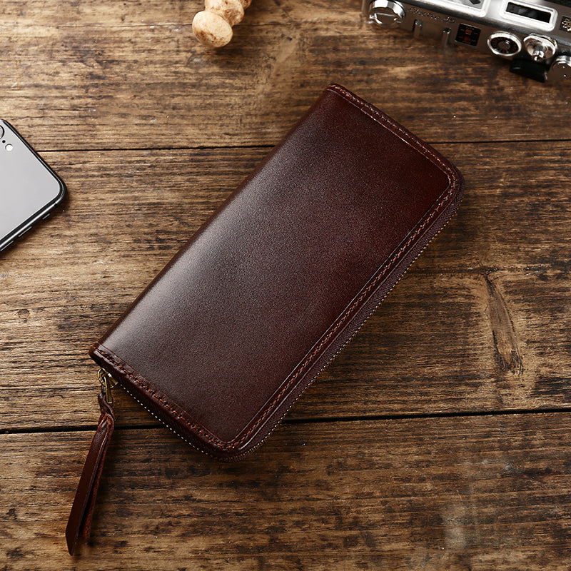 Handmade Vintage Mens Leather Black Long Wallet Dark Brown Cool Long Card Wallet for Men