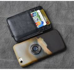 Black Leather Mens Front Pocket Wallet Short Card Wallet Money Clip For Men
