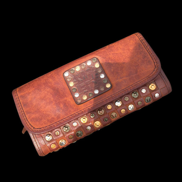 Handmade Genuine Rock Punk Leather Mens Cool Long Wallet Wristlet Bifold Clutch Wallet for Men