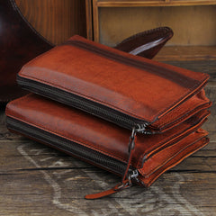Handmade Genuine Leather Mens Cool Long Wallet Wristlet Bifold Clutch Wallet for Men