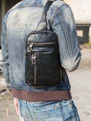 Black Casual Leather Mens 8 inches Sling Bag Chest Bag Black One Shoulder Backpack Phone Bag for Men