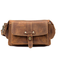 Cool Light Brown Leather Fanny Pack Mens Belt Bags Waist Bags Hip Pack Bumbag for Men