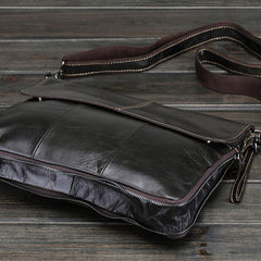 Cool Small Black Leather Mens Messenger Bag Shoulder Bag for Men