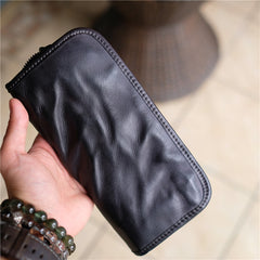 Vintage Brown Leather Men's Long Wallet Black Clutch Wallet Zipper Long Wallet For Men