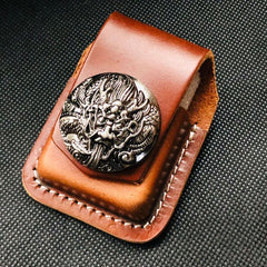 Coffee Handmade Leather Mens Indian Zippo Lighter Holders Lighter Case For Men