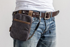 Canvas Belt Pouch Mens Waist Bag Hip Pack Belt Bag Fanny Pack Bumbag for Men