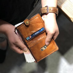 Vintage Handmade Black Leather Mens Short Leather Wallet Men Tan Bifold Small Wallets for Men