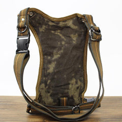Canvas Black Mens DropLeg Bag Green Fanny Pack Belt Pouch Waist Bag Hip Bag Small Side Bag For Men