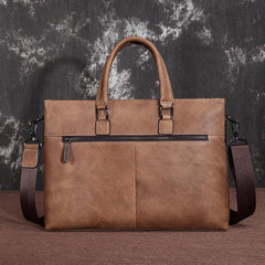 Brown Leather Men 13 inches Vintage Briefcase Handbag Gray Brown Laptop Handbag Side Bag For Men
