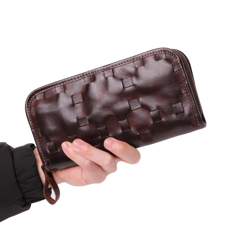 Vintage Brown Leather Men's Clutch Long Wallet Zipper Black Wristlet Wallet For Men