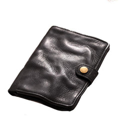 Cool Black Leather Mens Small billfold Wallet Brown Front Pocket Bifold billfold Wallet For Men