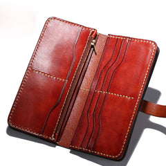 Handmade Leather Mens Clutch Cool Leather Wallet Long Phone Wallets for Men
