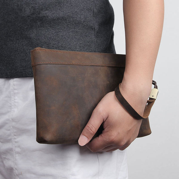 Dark Brown Leather Mens 8 inches Envelope Bag Wristlet Wallet Bag Zipper Clutch Wallet For Men