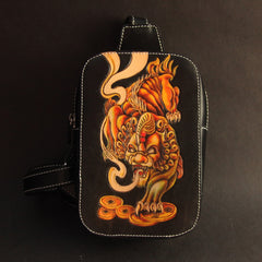 Cool Handmade Tooled Leather Dragon Carp Sling Bag Chest Bag One Shoulder Backpack For Men