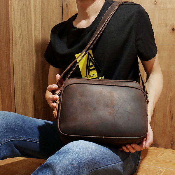 Coffee Leather Small Mens Messenger Bag Side Bag Vintage Brown Courier Bag For Men