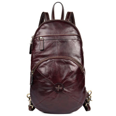 Brown Fashion Mens Leather 11-inches Large Backpacks Red Wine Travel Backpacks School Backpacks for men