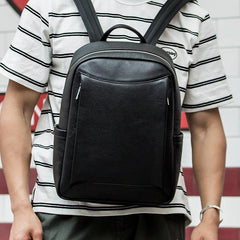 Cool Black Mens Leather Backpacks Travel Backpack 14-inch Laptop Backpack for men