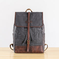 Gray Waxed Canvas Mens Large 15'' Laptop Backpack College Backpack Hiking Backpack for Men