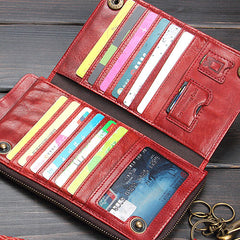 Handmade Mens Cool Long Leather Chain Wallet Cards Biker Trucker Wristlet Wallet