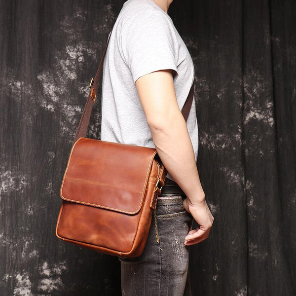 Best Brown Leather Men's Vertical Side Bag Brown Courier Bag Vertical Messenger Bag For Men
