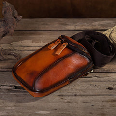 Cool Leather Tan Belt Bag Belt Pouch for Men Mini Shoulder Bag For Men