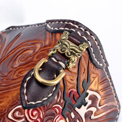 Handmade Leather Buddha&Demon Mens Chain Biker Wallet Cool Leather Wallet With Chain Wallets for Men