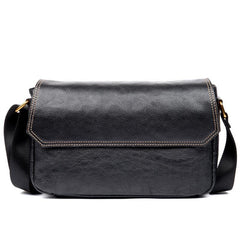 Fashion Black Leather 8 inches Mens Small Postman Bag Black Messenger Bags Courier Bags for Men