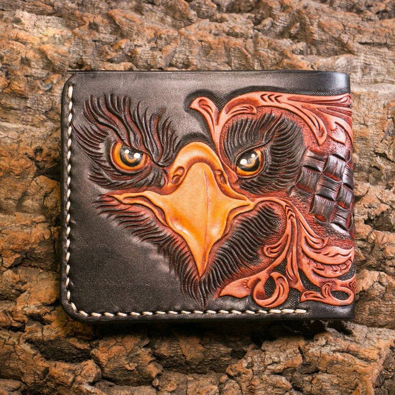 Handmade Leather Eagle Tooled Mens Short Wallet Cool Leather Wallet Slim Wallet for Men