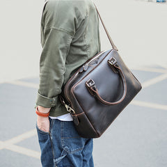 Cool Dark Brown Mens Leather Briefcase 14'' Work Handbag Ancient Brown Large Computer Briefcase For Men