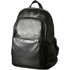 Fashion Leather Men's 15 inches Computer Backpack Black Large Travel Backpack Black Large College Backpack For Men