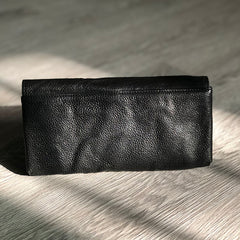 Vintage Black Leather Mens Womens Long Wallet Black Clutch Wallet Phone Wallet For Men