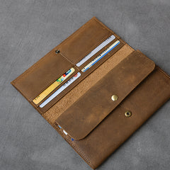Brown Leather Mens Long Wallet Long Bifold Card Wallet For Men