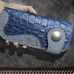 Handmade Leather Biker Wallet Mens Cool Chain Wallet Long Wallet Trucker Wallet with Chain