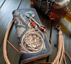 Handmade Leather Tooled Floral Mens Clutch Wallet Cool Wallet Long Wallets for Men