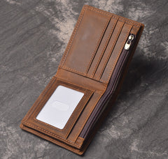 Cool RFID Leather Mens Bifold Small Wallet billfold Wallet Front Pocket Wallets for Men