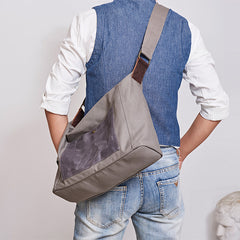 Canvas Mens 14 inches Side Bag Canvas Messenger Bags Canvas Travel Large Courier Bags for Men