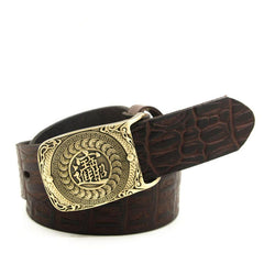 Handmade Genuine Leather Punk Rock Chinese Amass Fortunes Mens Cool Men Biker Trucker Leather Belt